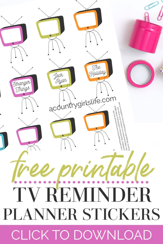 FREE Happy Planner Stickers Netflix or TV Show Reminder