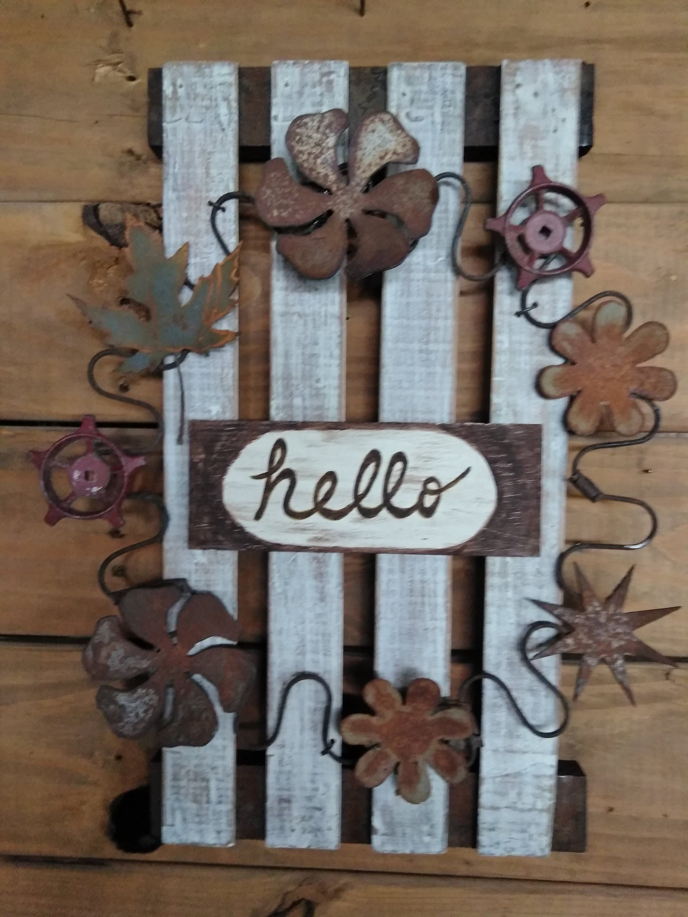 Farmhouse Wreath Metal And Wood Art Hello Sign Rustic Decor Junk