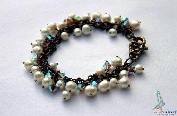 Pearls & Chrystal - lovely and elegant charm bracelet by esferajewelry #jewelry #bracelet #gift #wedding #bridal #pearls