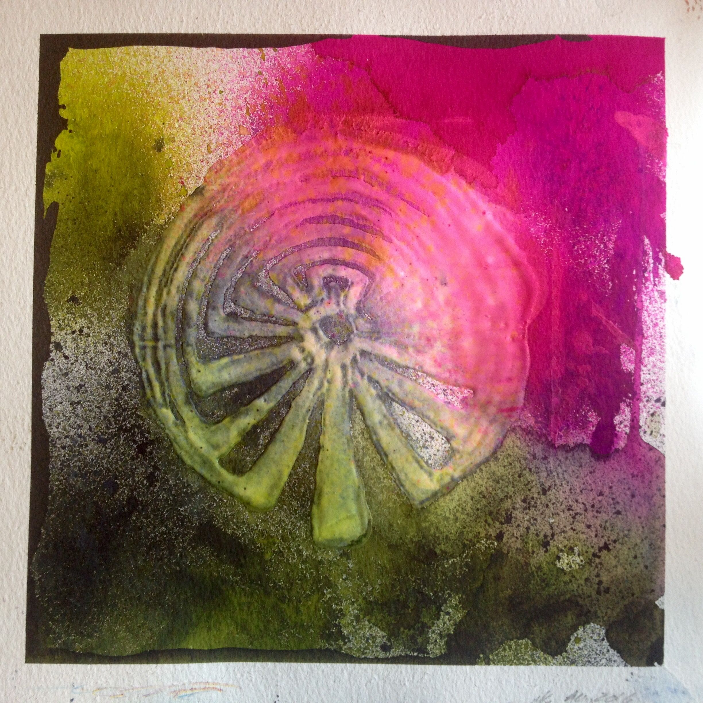 Labyrinth Drawing With Artistcellar Stencil Clear Gesso On 300lb