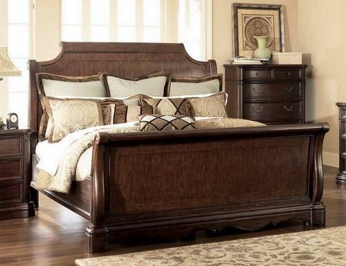 Master Bedroom Luxury Sleigh Bed With Wooden Night Tables Ideas