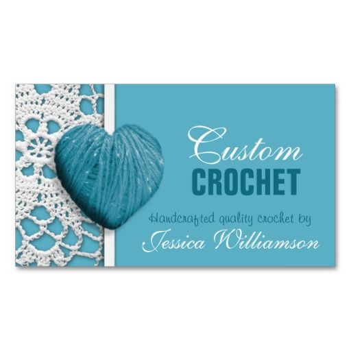 Crochet Heart Shaped Yarn Blue Business Cards Zazzle Com In 2020 Crochet Business Blue Business Card Custom Crochet