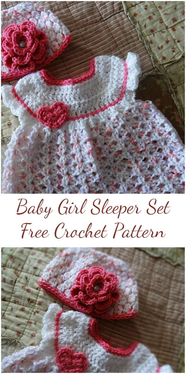 Free Crochet Pattern - Baby Girl Sleeper Set | Tejido gancho ...