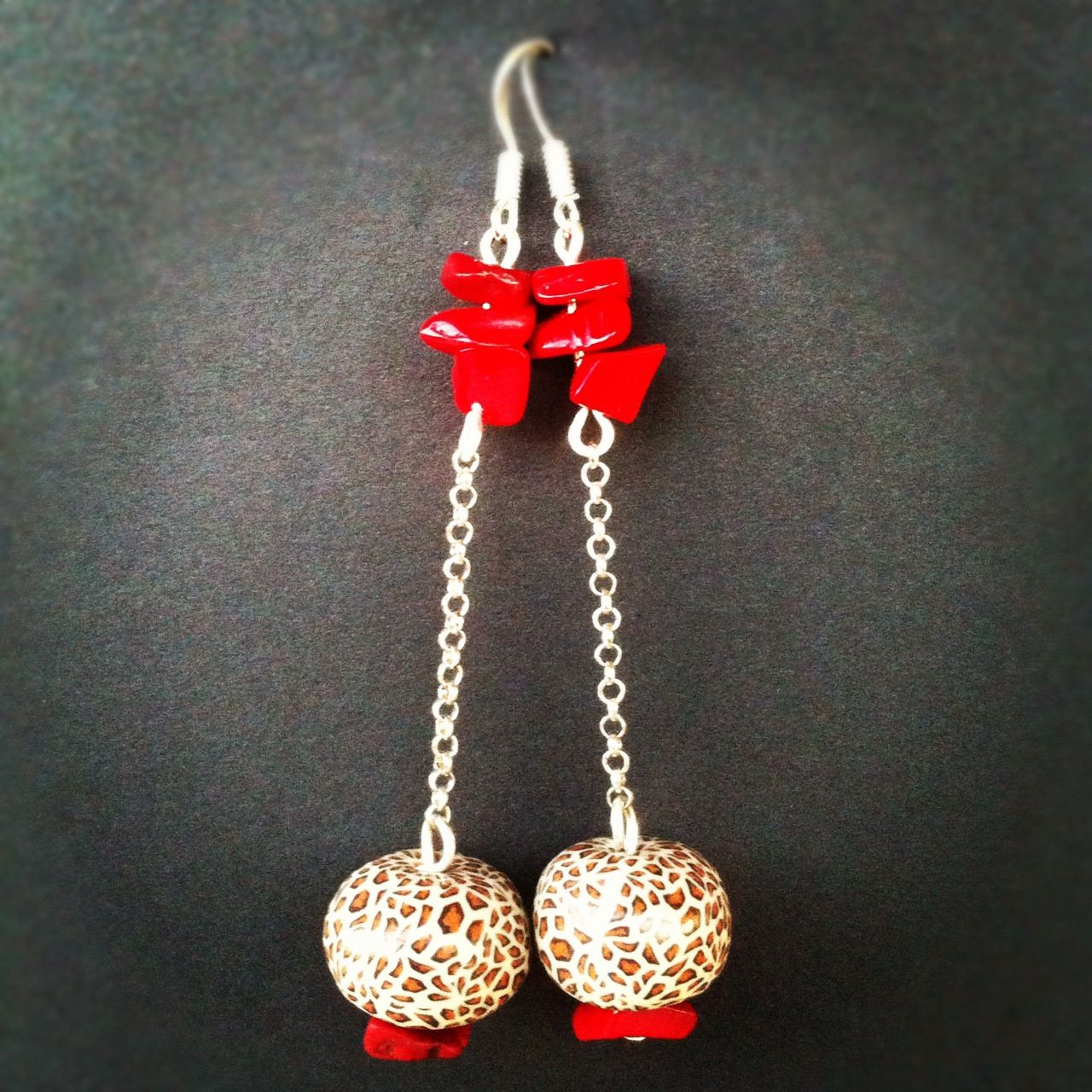 Coral chips & leopardskin fimo beads
