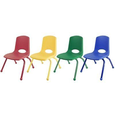 12 Plastic Classroom Stackable Chair Seat Color Blue Foot Type