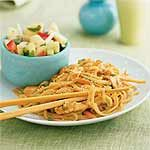 Sesame Noodles with Chicken Recipe - Look for bottled toasted sesame seeds for a quick garnish. Toss cucumber, tomato, onion, and cilantro with rice wine vinegar and a little toasted sesame oil for a snappy side dish.