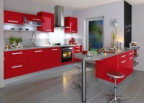 Captivant Intérieur Rouge Et Blanc | Déco Cuisine Rouge Et Gris : Meubles De Cuisine  Rouge Enveloppés