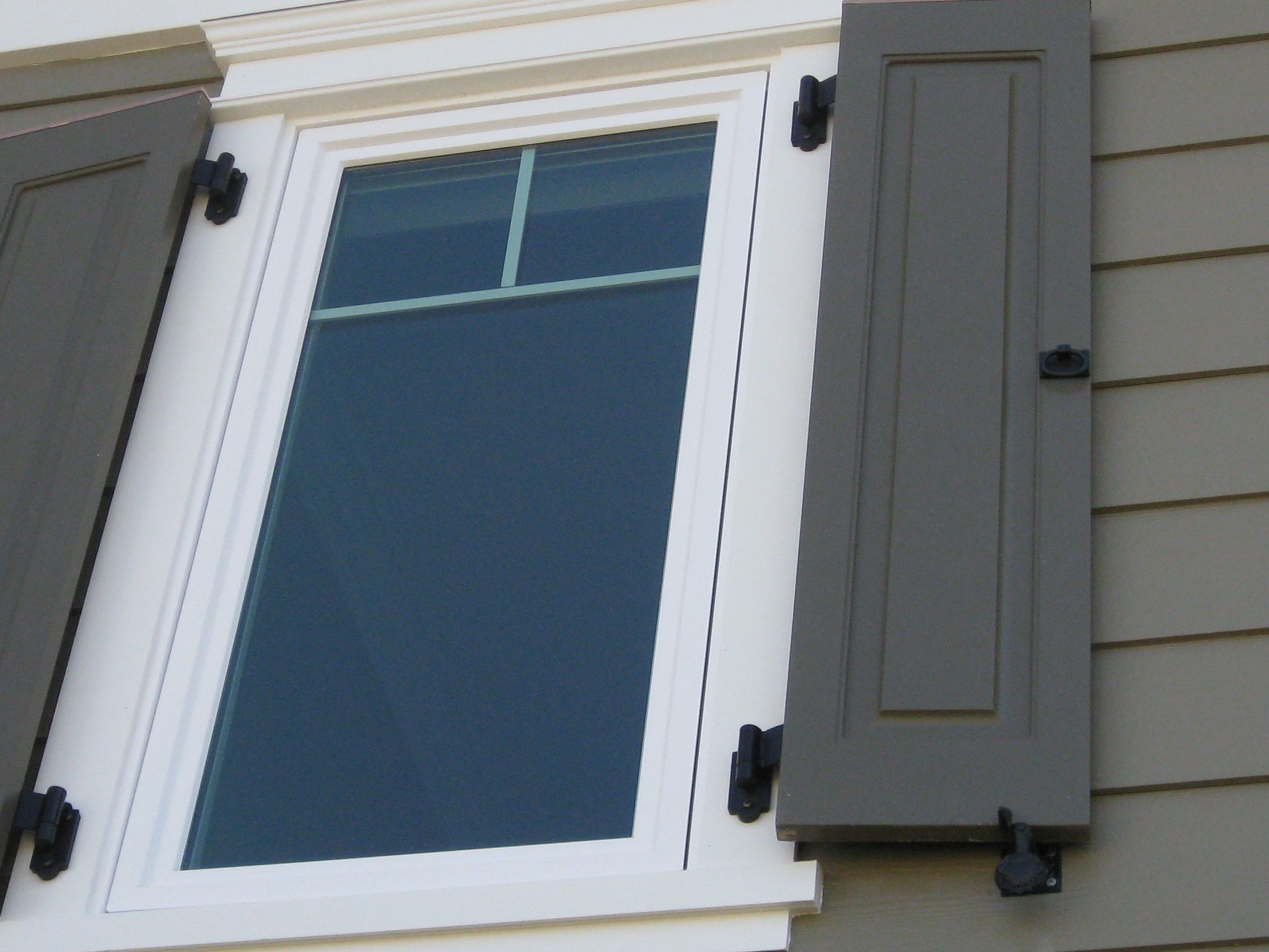 Close Up Of The Windows Shutters And Lynn Cove Hardware This Project Used Carbon Steel Shutter Hinges Pintels Shims For Pintles