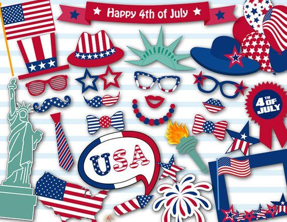 Instant Download Patriotic Usa Photo Booth Props 4th Of July