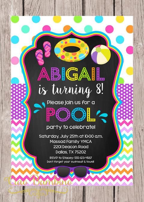 printable pool party invitation print your own girls swimming