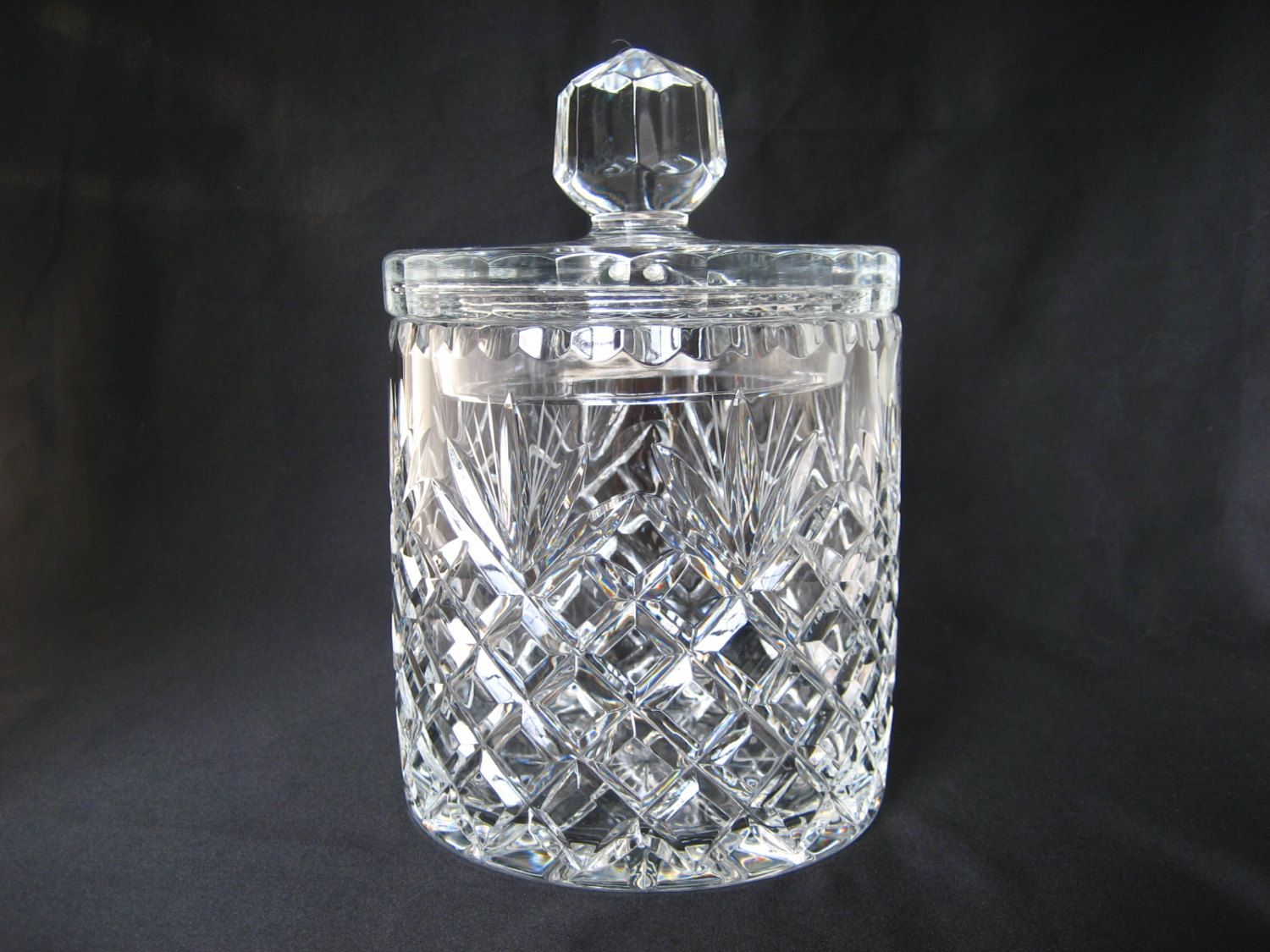 Vintage Crystal Clear Gl Cookie Jar With Lid Lidded Covered Large Candy Buffet Brilliant Cut Deep