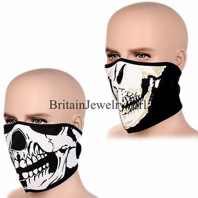 Skull Mask Ski Snowboard Mask Motorcycle Biker Half Face Neoprene Mask Bandana
