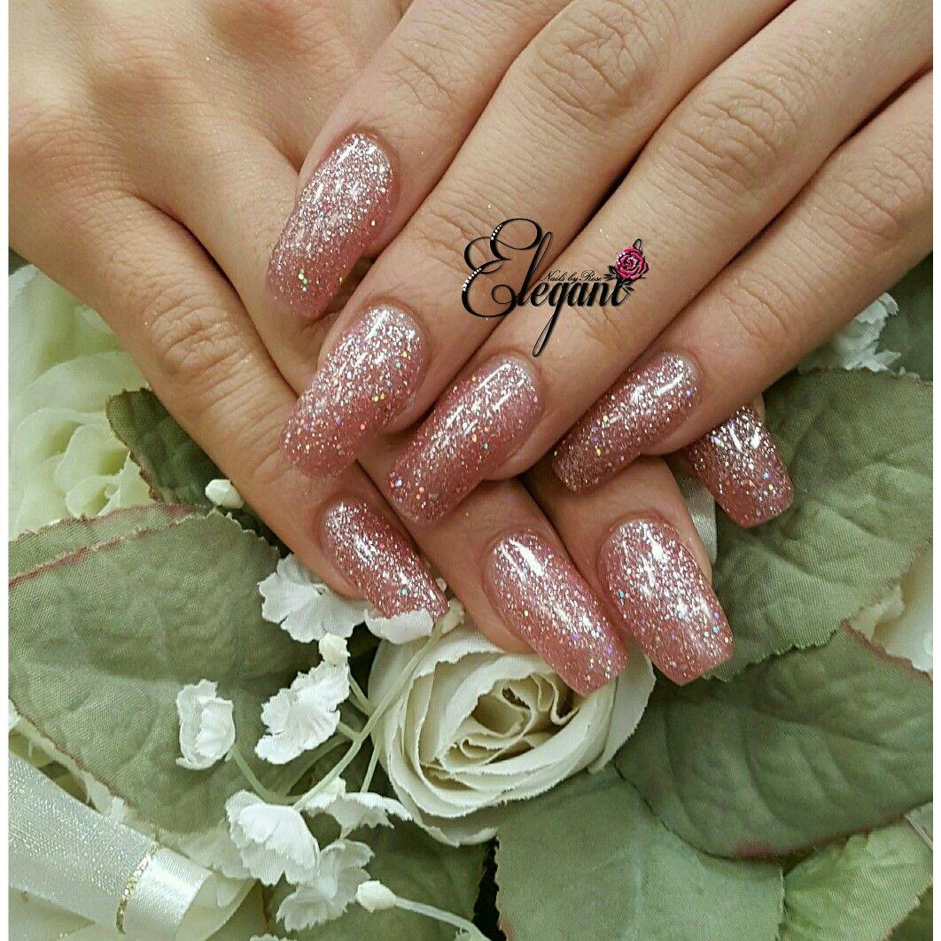"Wedding glitter nails, gelish ""June Bride"" gel polish on ..."