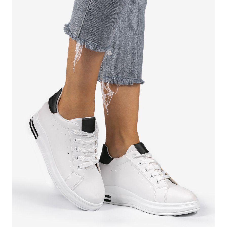 Biale Sneakersy Trampki Na Koturnie 1061 Czarne White Sneaker Adidas Stan Smith Adidas Sneakers