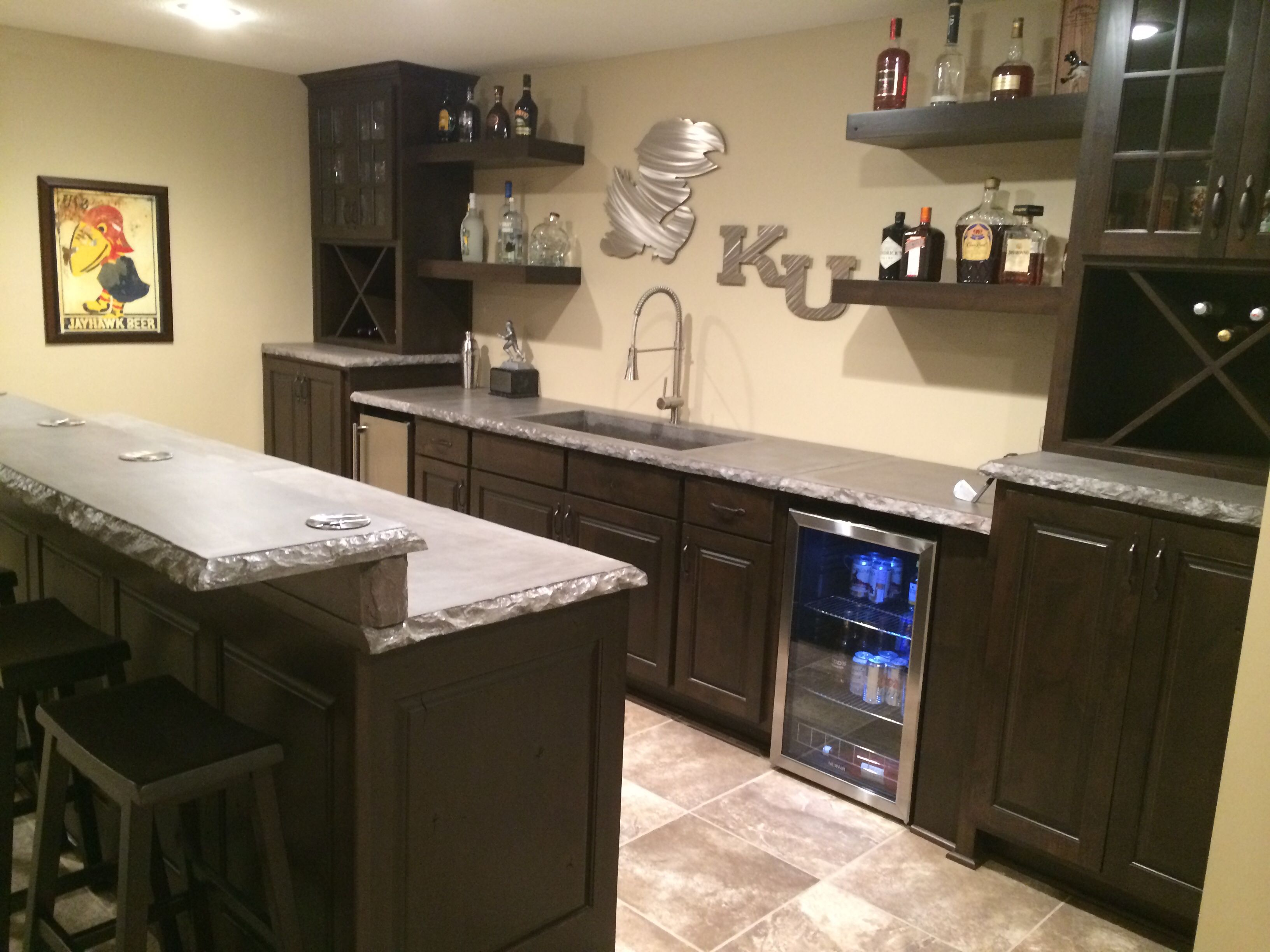 Man Cave KU Bar with concrete countertops