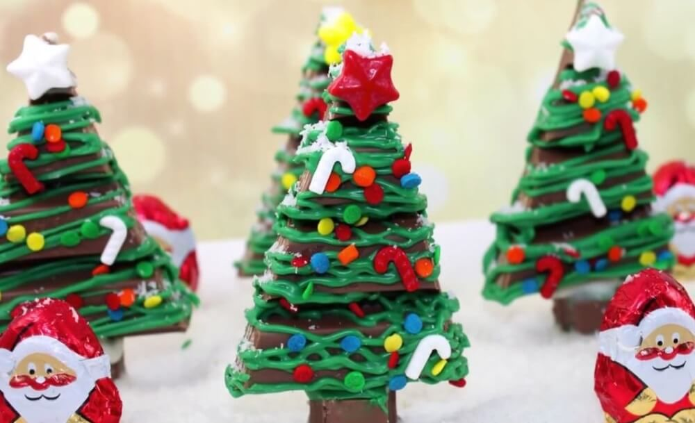 How To Make Adorable Kit Kat Christmas Trees