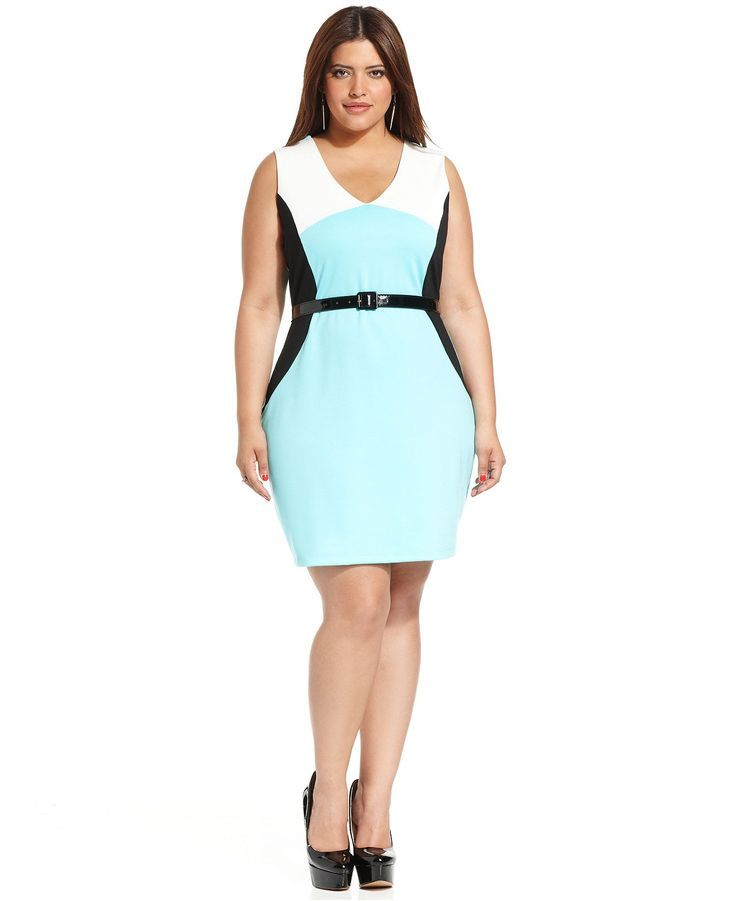 Ing Plus Size Dress Sleeveless Colorblock Belted Plus Size