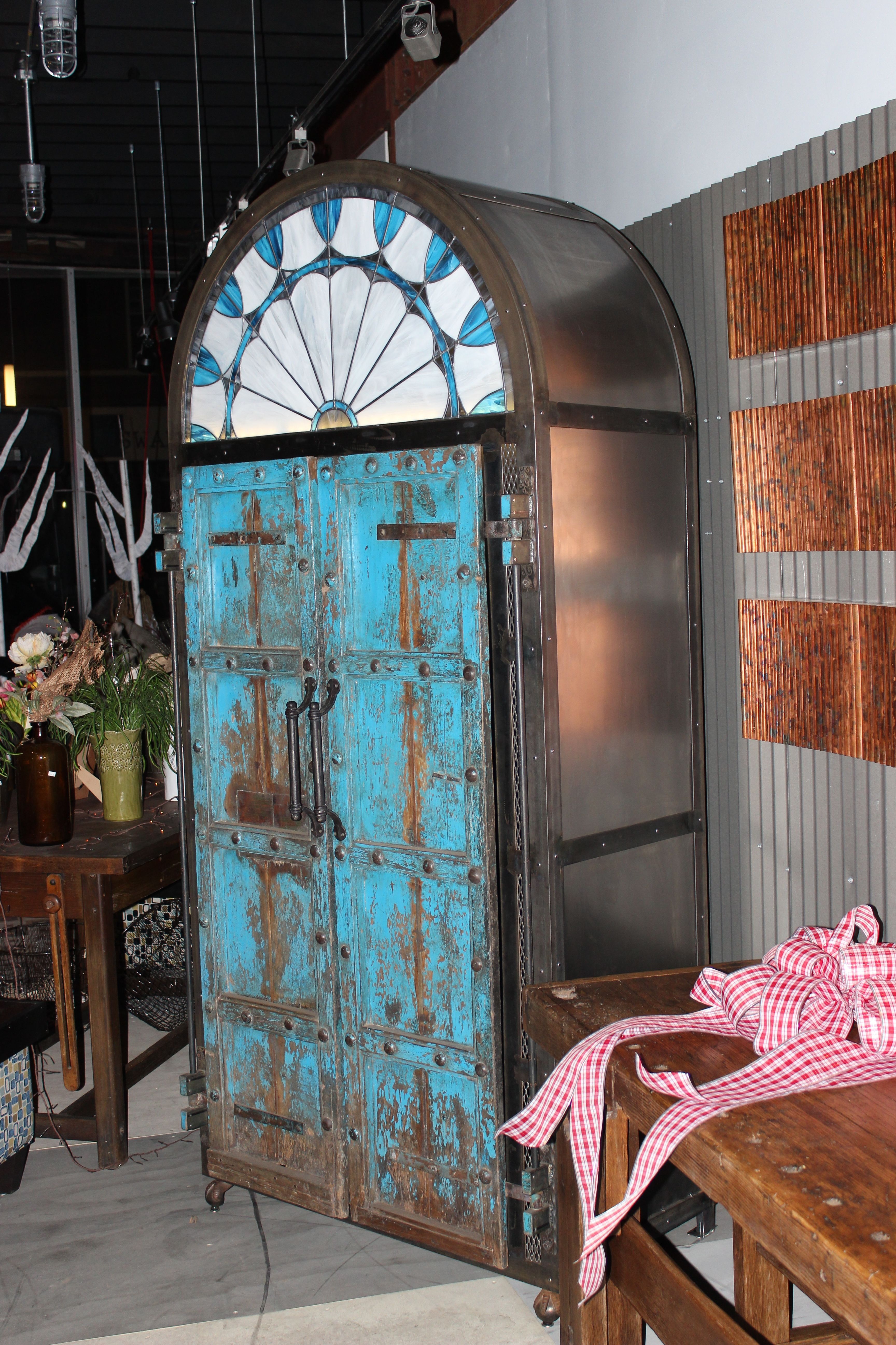 custom industrial armoire by rogue decor co. antique indian doors claw foot tub feet & custom industrial armoire by rogue decor co. antique indian doors ... pezcame.com