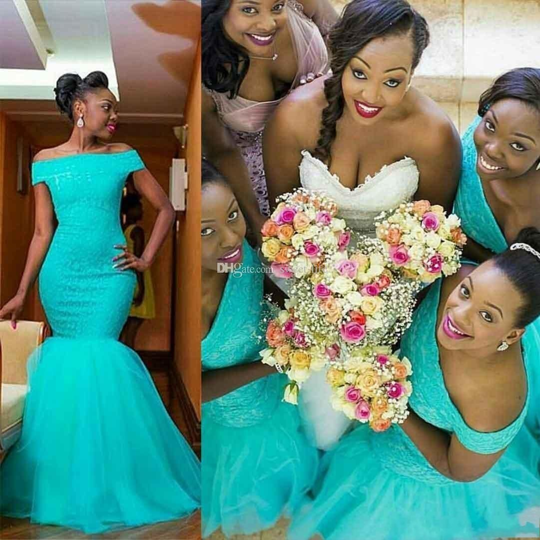 2017 New African Mermaid Long Bridesmaid Dresses Off Shoulder ...
