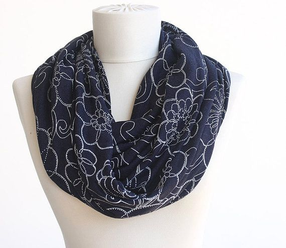 Navy blue white printed floral infinity scarf by violasboutique, $18.00