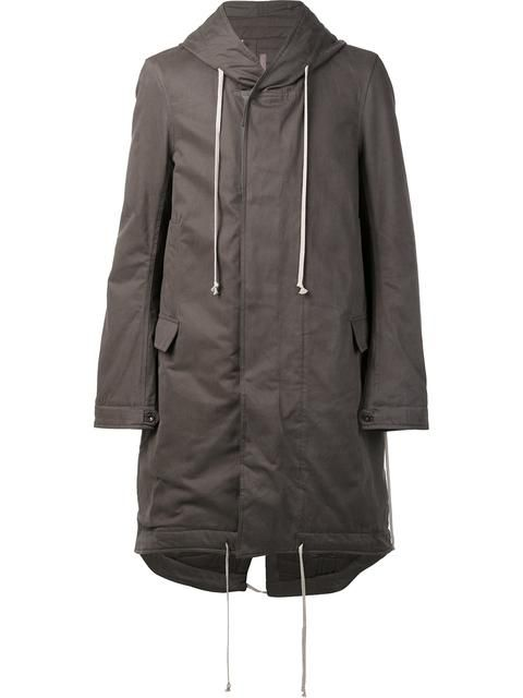 RICK OWENS DRKSHDW padded fishtail hooded coat. #rickowensdrkshdw #cloth #coat