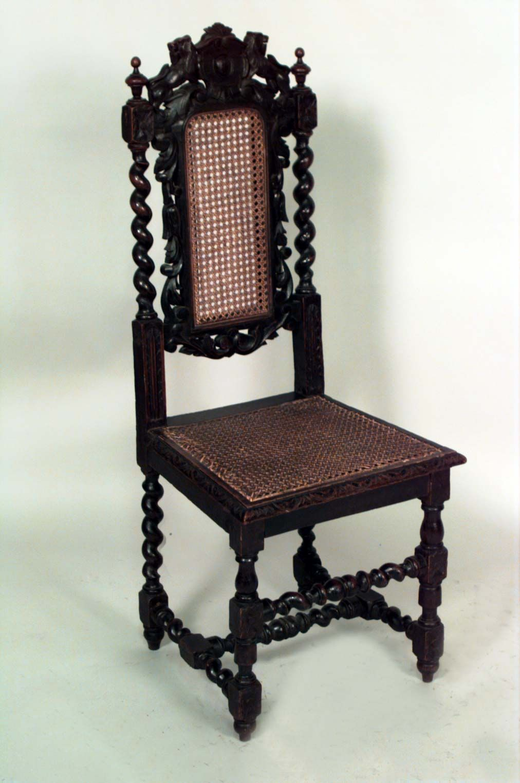 Set Of 4 English Jacobean Style Oak Side Chairs With Cane Seat And Back And  Lions On Top Of Back Cent.
