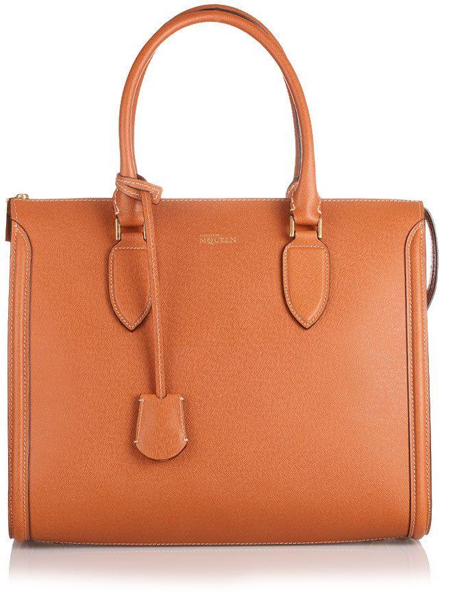 004e9f93a Alexander McQueen Tan Heroine leather handbag on shopstyle.co.uk ...