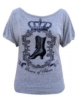 Women's Queen Of Shoes Scoop Neck Tee by Annex Clothing