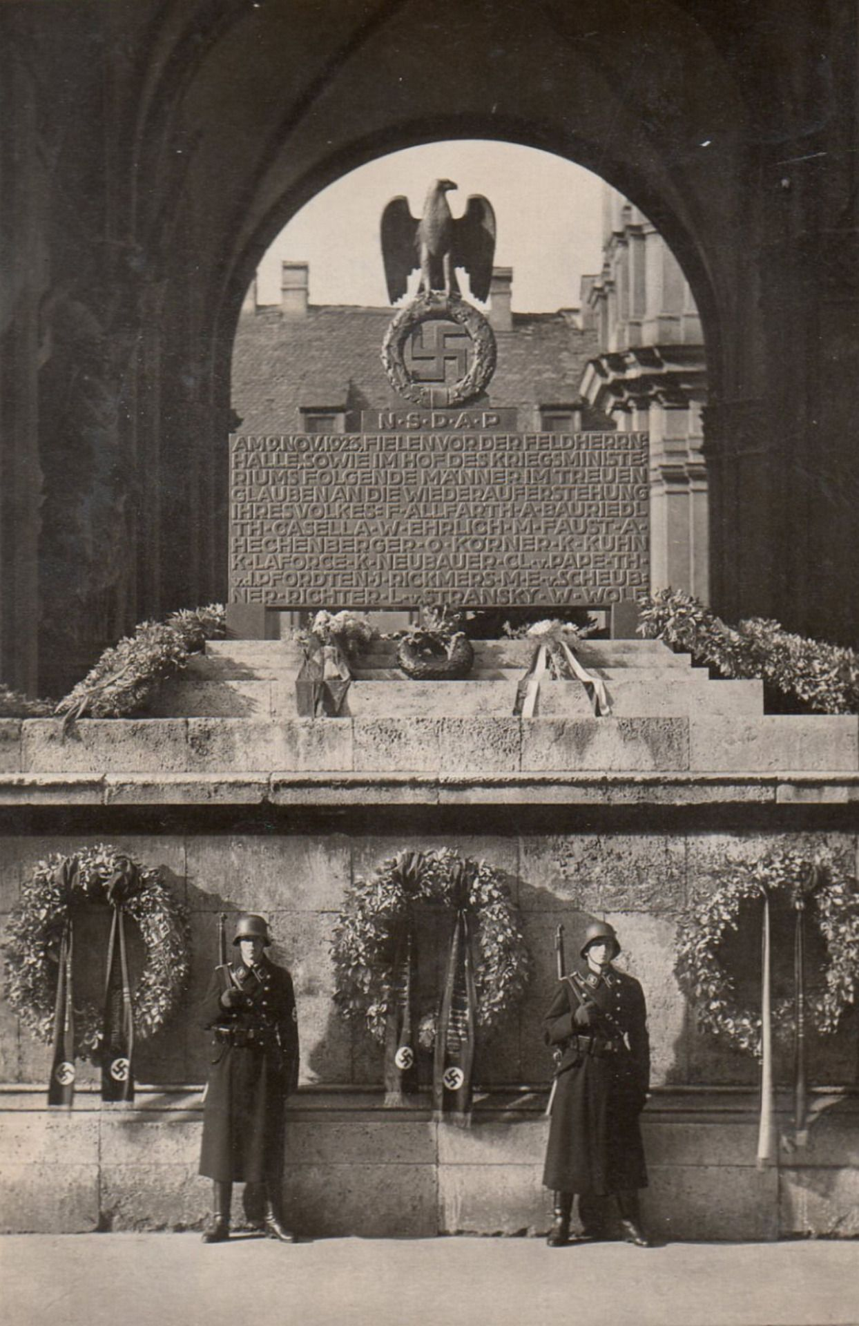 East Side München this is a memorial cenotaph on the east side of the munich feldherrnhalle on the