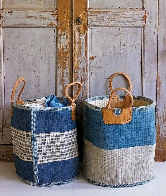 Beautiful blue & white straw baskets with leather handles