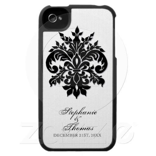 Black n White Fleur de Lys Custom Iphone case