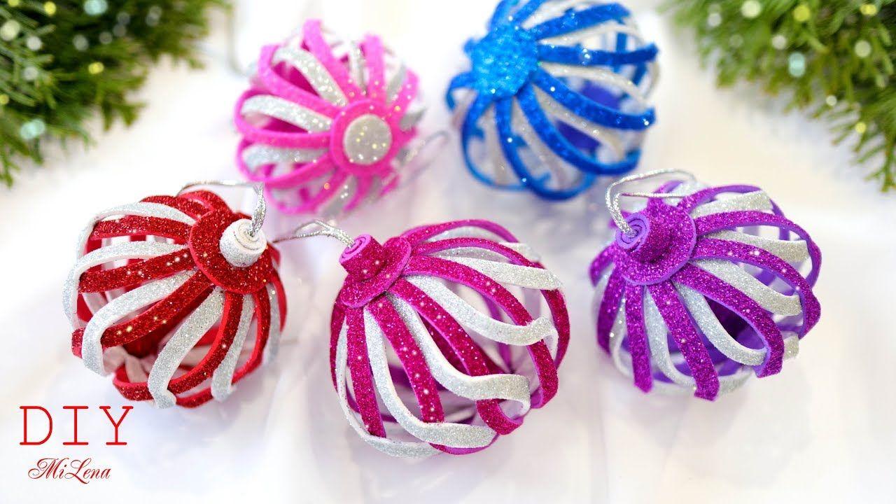 НОВОГОДНИЕ ИГРУШКИ ИЗ ФОАМИРАНА 🎄 Glitter Foam Ornaments