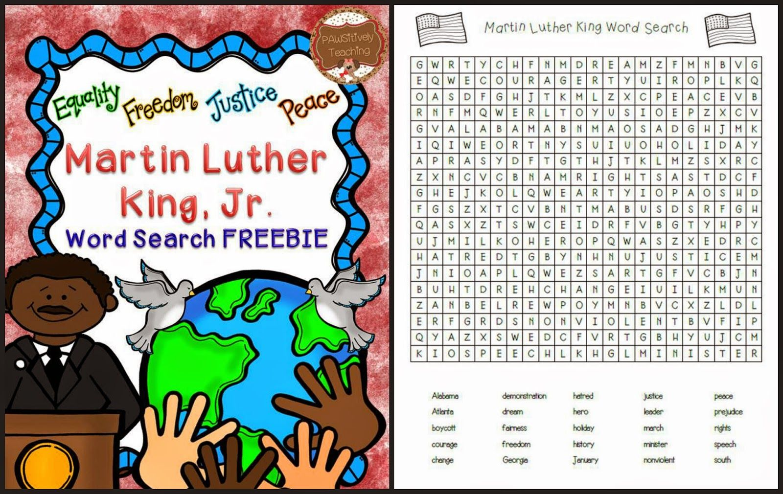 martin luther king word search puzzles www