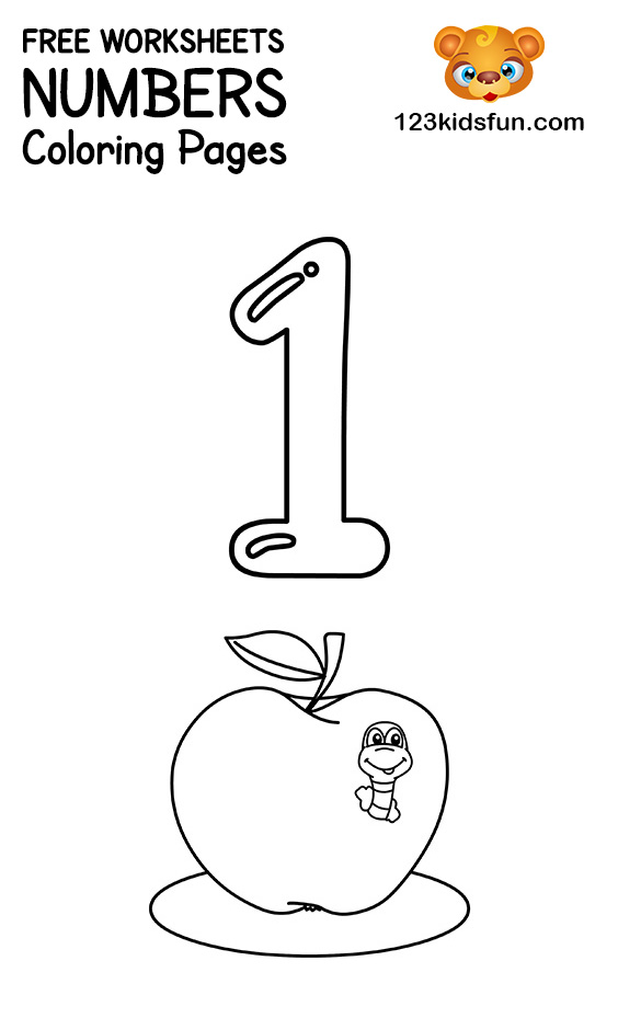 Free Printable Number Coloring Pages 1 10 For Kids 123 Kids Fun Apps In 2020 Free Printable Numbers Numbers Preschool Printables Toddler Free Printables