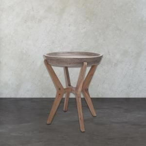 Tonga Waxed Concrete And Silver Side Table TN 891629 At The Home Depot    Mobile