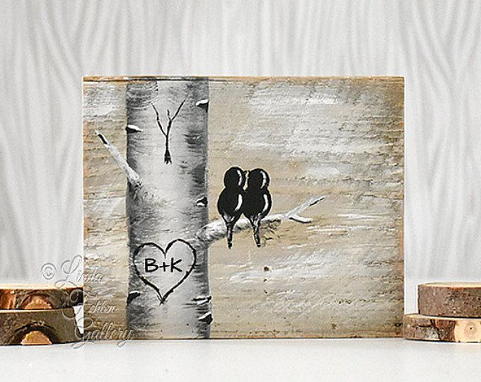 Mint and Coral Aspen Tree Painting Rustic Wood Signs Love Gift Wood Sign Art Lov