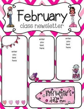 February Newsletter Freebies Preschool Newsletter Templates Preschool Newsletter Classroom Newsletter Template
