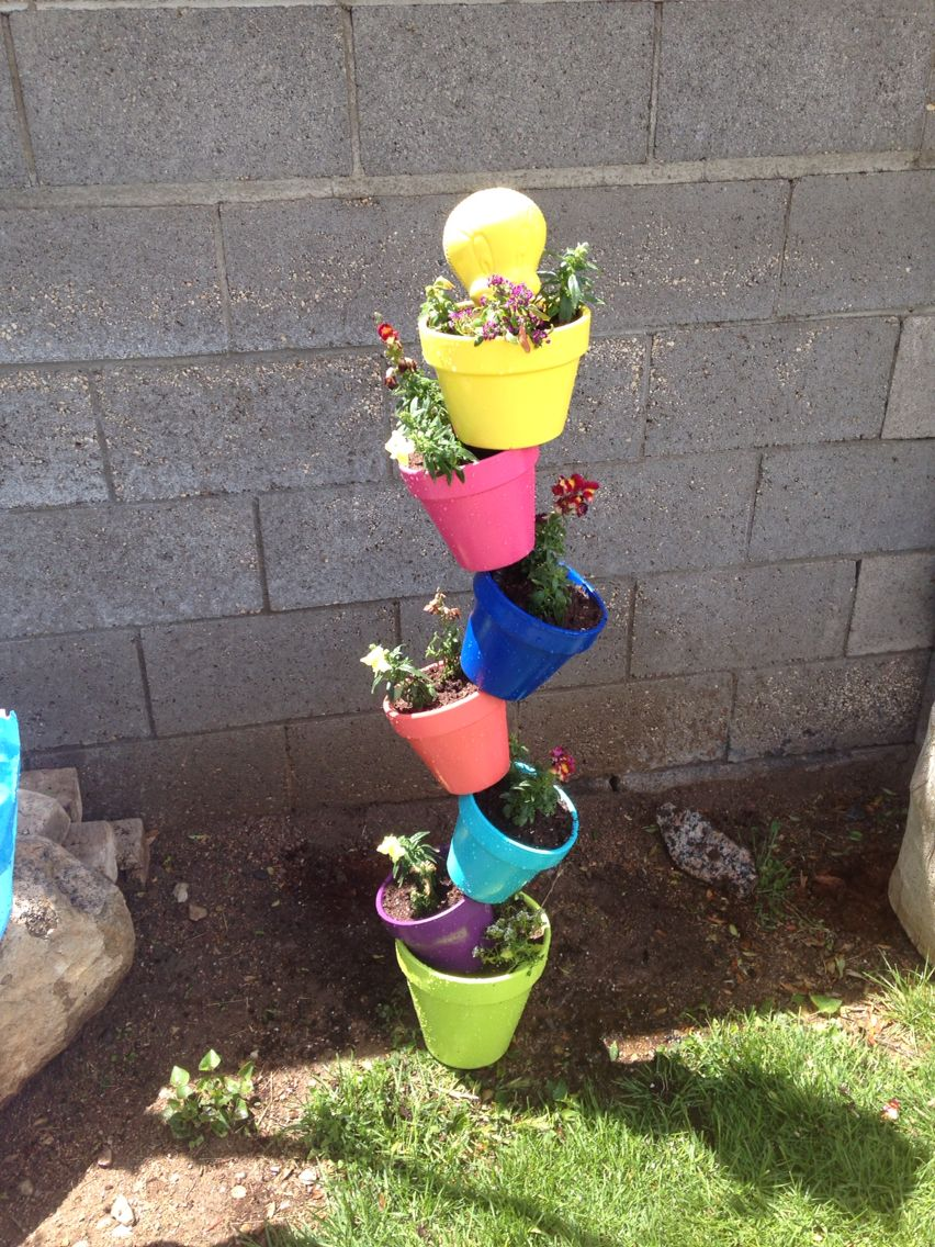 Colorful tower of pots!