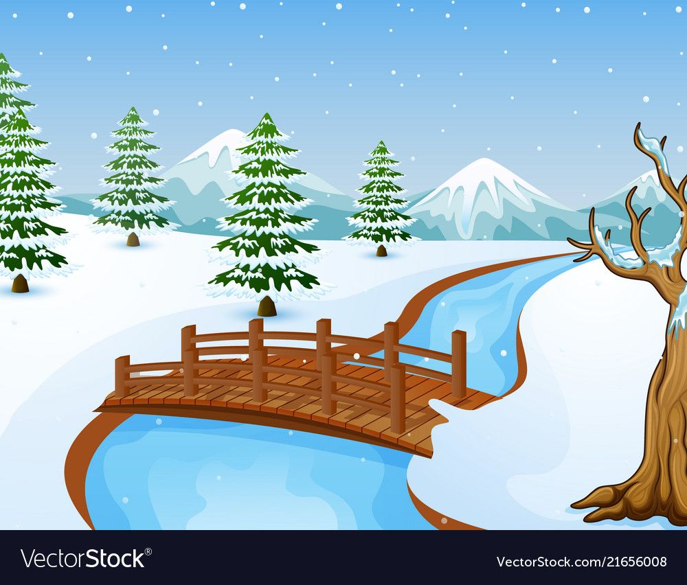 Illustration Of Vector Illustration Of Cartoon Winter Landscape With Mountains A Christmas Lights Wallpaper Landscape Drawing For Kids Winter Landscape Drawing