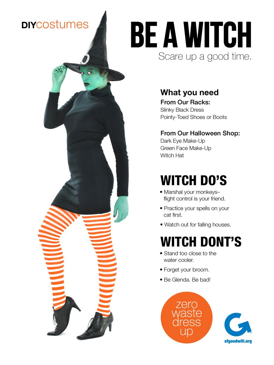 Goodwill Halloween DIY Costume Witch- longer black dress, sub ...