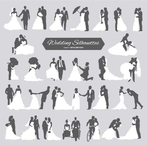 Photo of Seis parejas de boda en silueta vector libre