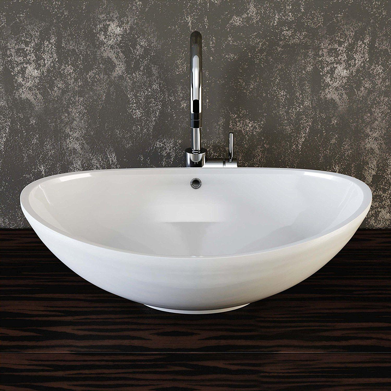 Vilstein C Keramik Waschbecken Aufsatz Waschbecken Aufsatz Waschschale Waschtisch Oval Weiss 60 Cm Keramik Waschbecken Waschbecken Waschtisch
