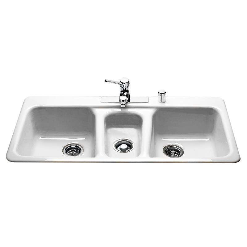 "Miseno MCI97-4TM 43"" 4 Hole Cast Iron Triple Basin Kitchen Sink for Drop In Inst White Fixture Kitchen Sink Cast Iron"
