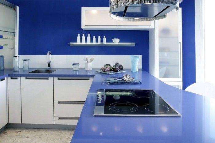 selbstgebaute küche küche in blau gesättigte farben in der küche ...