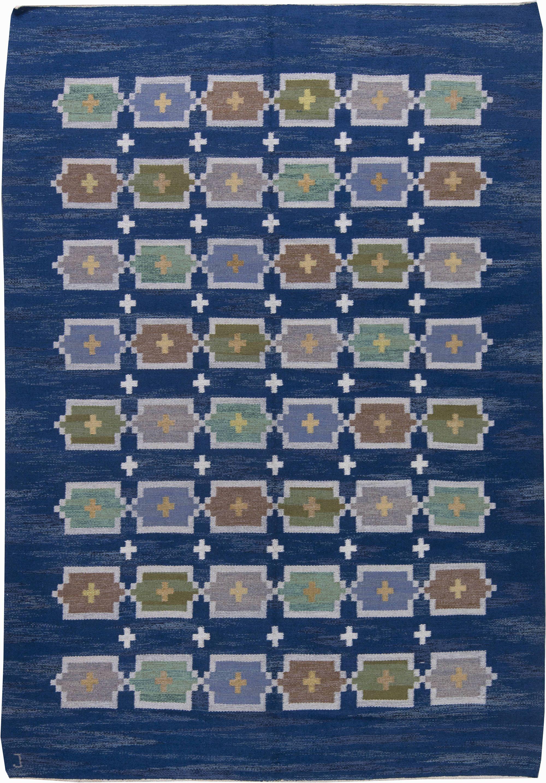 Vintage Swedish Flat Weave Blue Rug By Judith Johansson Bb6246 By Dlb Scandinavian Rug Flat Weave Rug Flat Weave
