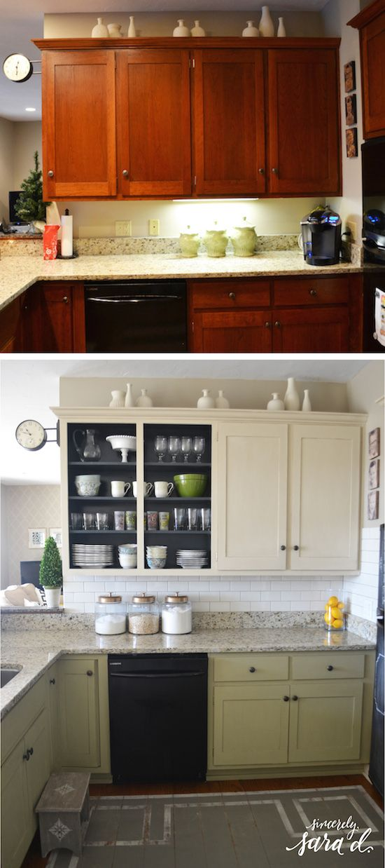 inexpensive kitchen update: painted cabinets, painted floors