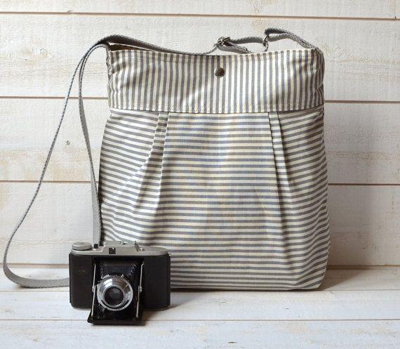MEDIUM WATER PROOF Diaper bag Gray and Ecru Ticking