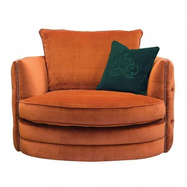 Burnt Orange Velvet Swivel Chair, Orange Dining Room Chair Cushions