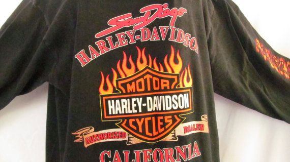 harley davidson flame long sleeve shirt san diego california