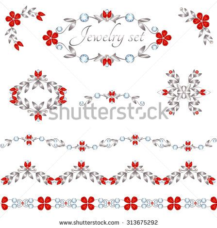 Jewelry decoration elements with rubies flowers and diamonds